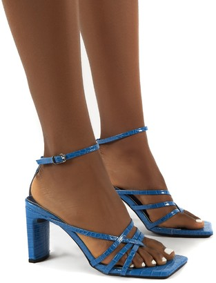Public Desire Uk Charms Square Toe Strappy Detail Block Heels