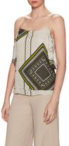 Derek Lam 10 Crosby Silk Print Gathered Sleeve Cami Top