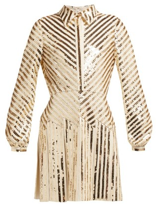 Valentino Chevron-sequinned Mini Dress - Womens - Gold Multi