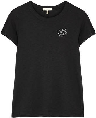 Rag & Bone Black embroidered Pima cotton T-shirt