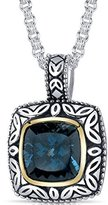 Peora Cushion Cut 5.00 carat London Topaz Sterling Silver Rhodium Nickel Finish Antique Style Pendant