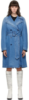 MM6 MAISON MARGIELA Blue Denim Shadow Trench Coat