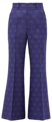 Gucci GG-jacquard Wool-blend Kick-flare Trousers - Blue