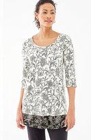J. Jill Wearever Border-Print Floral Tunic
