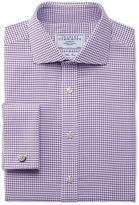 Charles Tyrwhitt Classic Fit Non-Iron Spread Collar Basketweave Purple Cotton Dress Casual Shirt Single Cuff Size 15/35