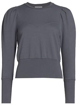 Walker Stitched Puff-Sleeve Cotton Sweatshirt