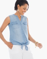 Chico's Denim Sleeveless Tie-Front Top