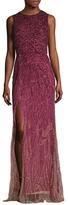 Monique Lhuillier Embellished Side Slit Column Gown
