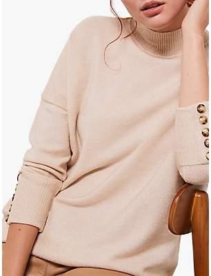 Mint Velvet Camel High Neck Fitted Tunic, Neutral