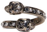 Alexander McQueen Silver Crystal and Pearl Twin Skull Ring