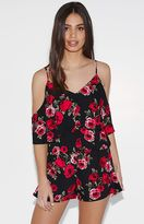 KENDALL + KYLIE Kendall & Kylie Rose Print Cold Shoulder Top