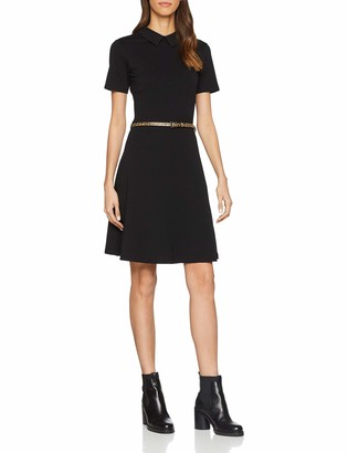 Dorothy Perkins Women's Pu Collar Belted Fit and Flare Dress