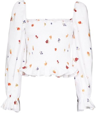 Reformation Ruched fruit and floral print top