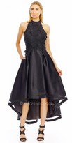 Nicole Miller New York Embroidered High-Low Flared Dress