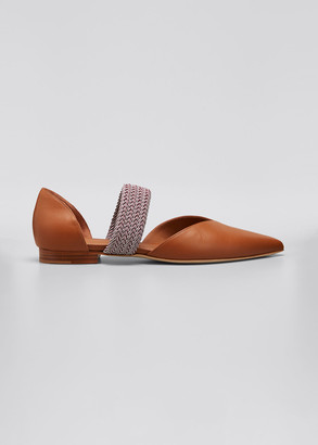 Malone Souliers Maisie Napa Woven-Band Ballerina Slippers