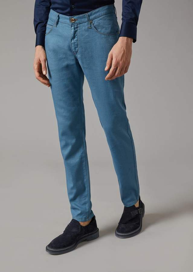 Giorgio Armani Five-Pocket Cotton And Linen Trousers