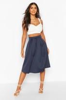 boohoo Beau Box Pleat Midi Skirt navy