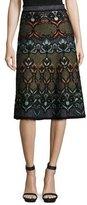M Missoni Lurex® Floral-Jacquard A-Line Skirt, Black