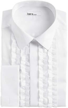 Bar III Men Slim-Fit Performance Stretch White Ruffle French Cuff Tuxedo Shirt