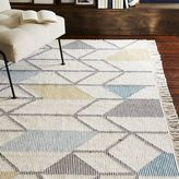 west elm Abstract Angles Wool Dhurrie - Ivory