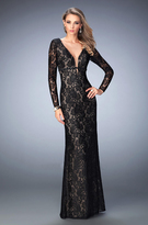 La Femme 22306 Long Sleeve Plunge Lace Evening Gown