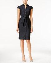 Calvin Klein Petite Denim Belted Shirtdress