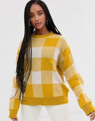 Daisy Street jumper in vintage check knit-Yellow