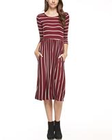 Burgundy & Ivory Stripe Pocket A-Line Dress