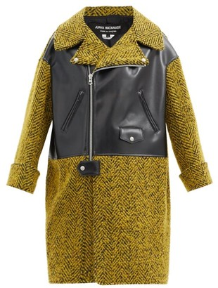 Junya Watanabe Herringbone-tweed And Faux-leather Coat - Yellow Multi