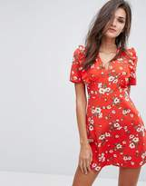 Fashion Union Tea Dress In Floral Print