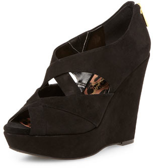 Jessica Simpson black platform wedge sandals