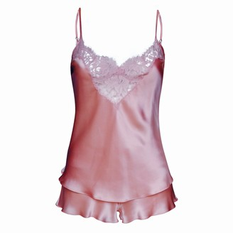 Natalie Begg Silk Camisole With Scalloped French Lace W/ Matching French Knickers - Powder Pink