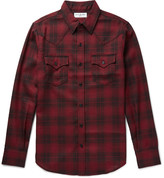 Saint Laurent - Slim-fit Checked Wool-flannel Western Shirt