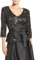 Eliza J Women's Sequin Lace Peplum Top