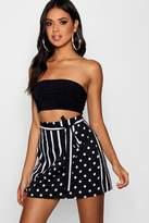 boohoo Maisy Wrap Front Mix Print Mini Skirt