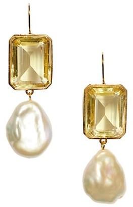 Lizzie Fortunato Aegean 18K Goldplated, Lemon Topaz Quartz & 17MM Keshi Pearl Drop Earrings
