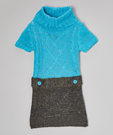 Dollhouse Aqua & Black Sweater Dress - Infant