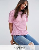 ASOS Tall ASOS TALL Gingham Tee With Ruffle Hem