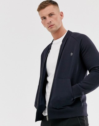 French Connection zip through bomber jacket-Navy