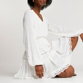 Thumbnail for your product : River Island Womens White broderie long sleeve mini dress