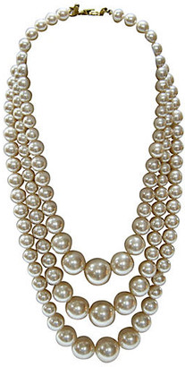 One Kings Lane Vintage Triple-Strand Graduated Pearl Necklace - Wisteria Antiques Etc