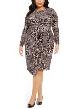 Alfani Plus Size Animal-Print Faux-Wrap Dress, Created For Macy's