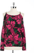 MICHAEL Michael Kors Floral Print Cold-Shoulder Tunic Top