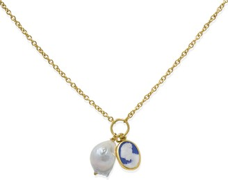 Vintouch Italy Blue Cameo With A Pearl Necklace