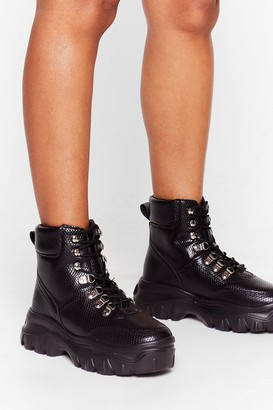Nasty Gal Womens Snake a Chance Hiker Wide Fit Sneakers - Black