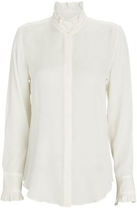 Nili Lotan Aleia Ruffled Silk Button-Down Shirt