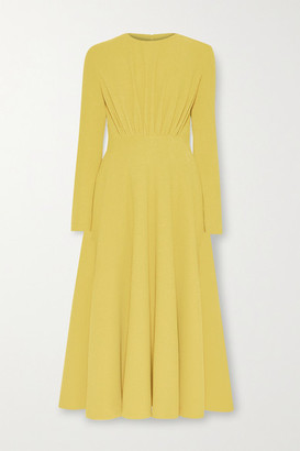 Emilia Wickstead Jorgie Ruched Crepe Midi Dress - Yellow