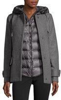 Moncler Euphemia Woolen Coat w/Puffer Vest, Gray