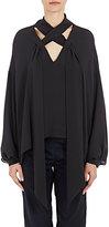 Balenciaga Women's Silk Tieneck Swing Blouse-BLACK