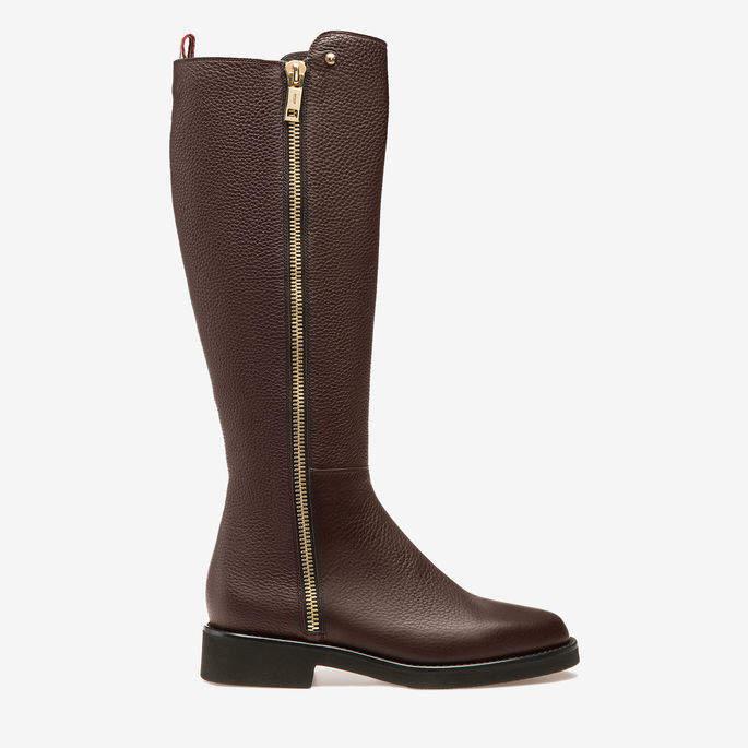 Bally Shante Brown, Women's calf leather long boots in dark tan